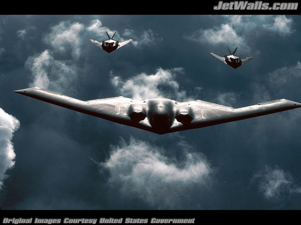 """B-2 Spirit bomber followed by two F-117 Nighthawks"" - Wallpaper No. 48 of 101. Right click for saving options."