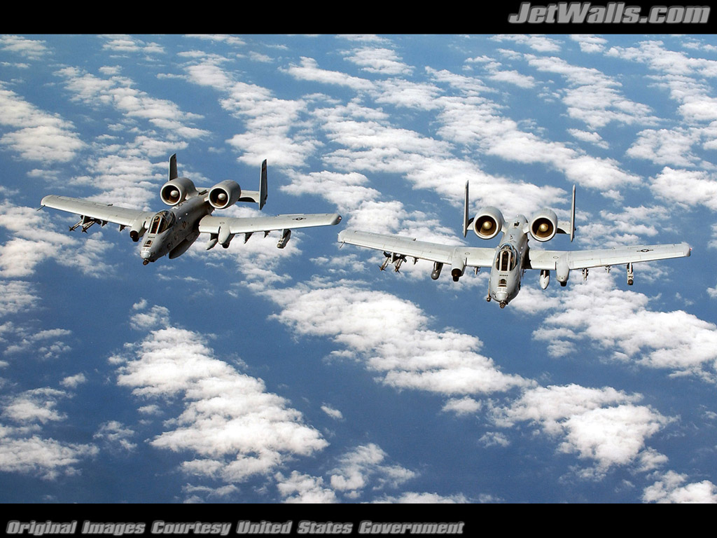 """Pair of A-10 Thunderbolt IIs"" - Wallpaper No. 68 of 101. Right click for saving options."