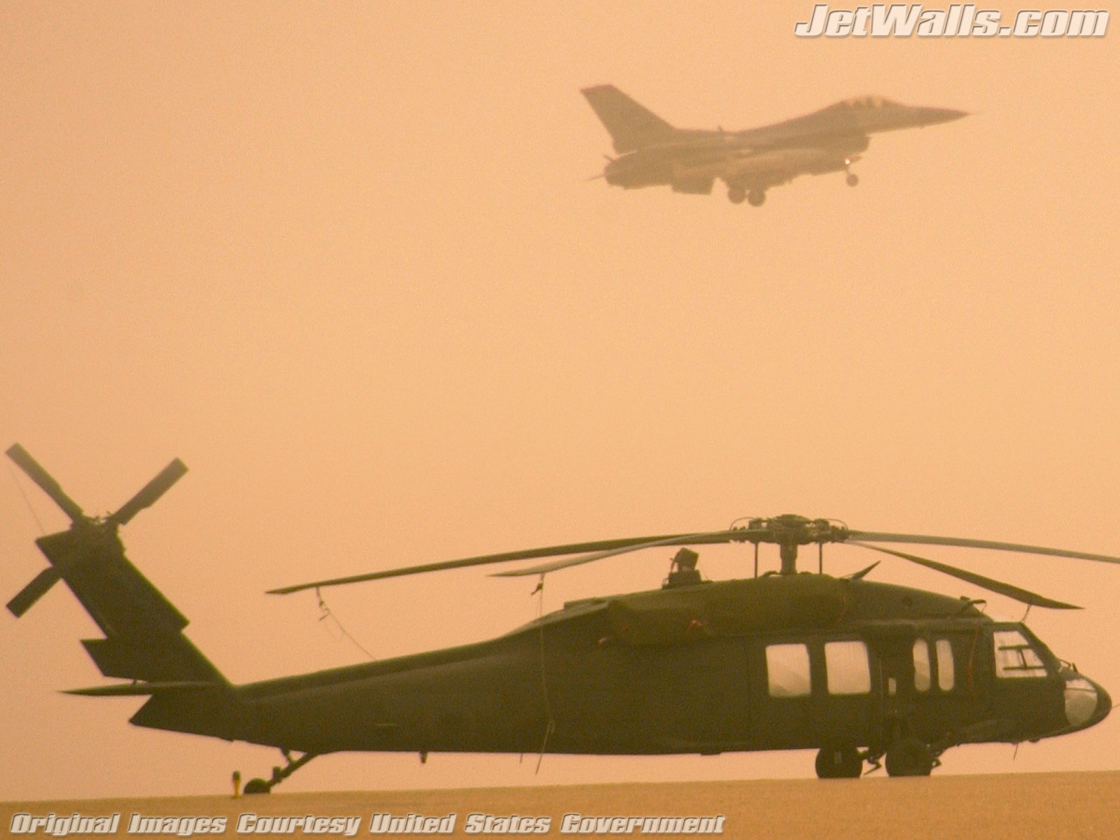 """Army Blackhawk Helicopter and F-16 Fighting Falcon"" - Wallpaper No. 94 of 101. Right click for saving options."