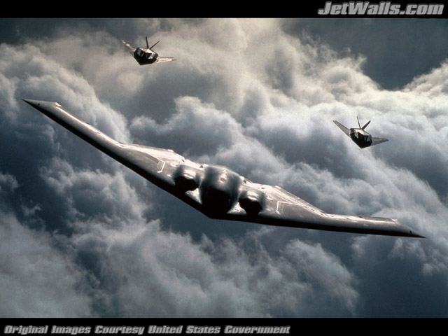 """B-2 Spirit and B-117A Nighthawks"" - Wallpaper No. 62 of 101. Right click for saving options."