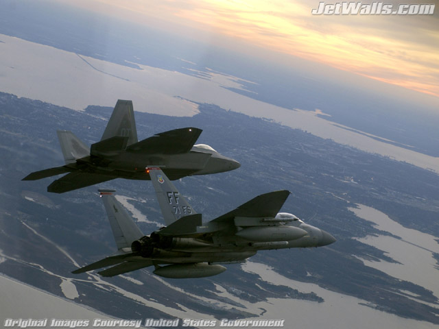 """F/A-22 Raptor F-15 Eagle"" - Wallpaper No. 98 of 101. Right click for saving options."